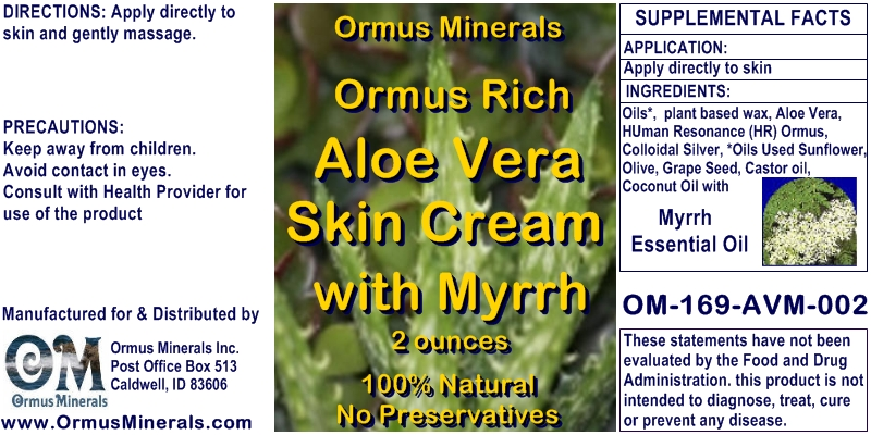 Ormus Minerals Ormus Rich Aloe Vera Skin Cream with Myrrh